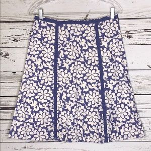 Boden 6R Purple & Off White Floral A-Line Skirt